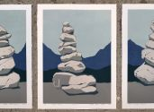 Triptych Stone cairn paper Fabriano Kopie