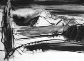 NIEDALEKO TUZ ZA LASEM III 2015 30 X 42 CM CHARCOAL INK ON PAPER